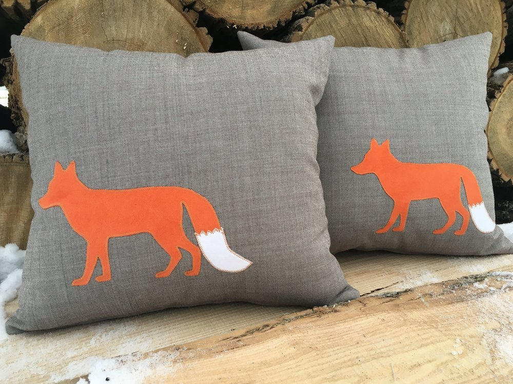 Favourite Foxes! - Another favourite here at The Plaid Cow! Using up-cycled wool fabrics to create amazing, one of a kind pillows is one thing, but then we go and add some pretty appliqued designs to the cushions, to really make them special! Foxes are a favourite!