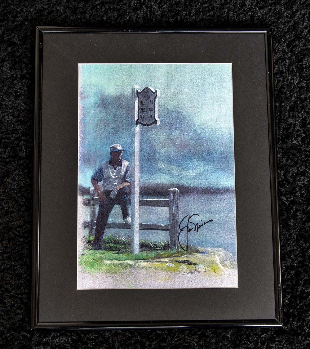 Jack Nicklaus Signed Painting Framed