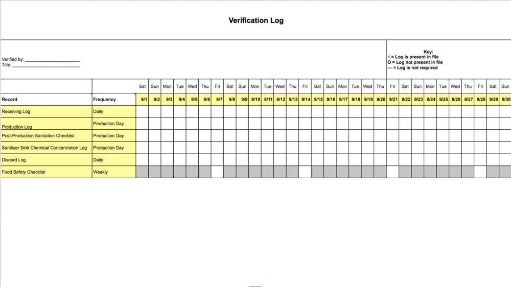 Verification Log Template