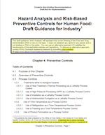 FDA Draft Guidance for Preventive Controls