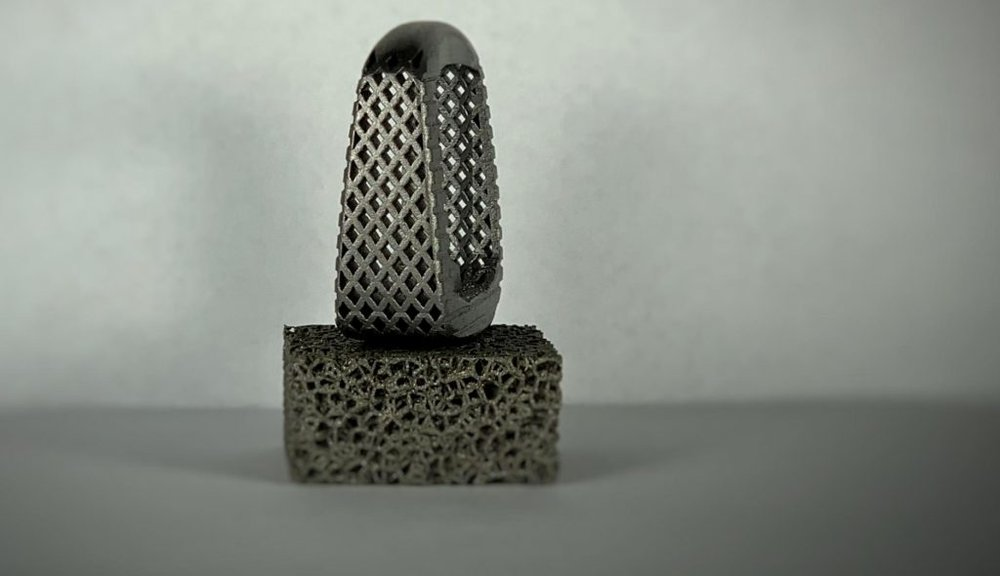 A Tangible Solutions 3D printed titanium implant. Photo via Tangible Solutions