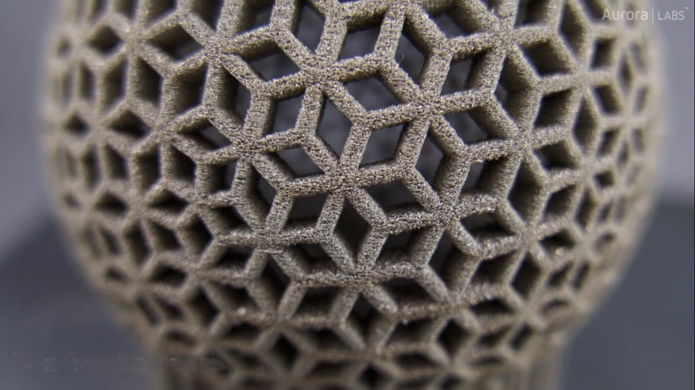 Rhombus ball printed with the S-Titanium Pro. Screengrab via Aurora Labs.