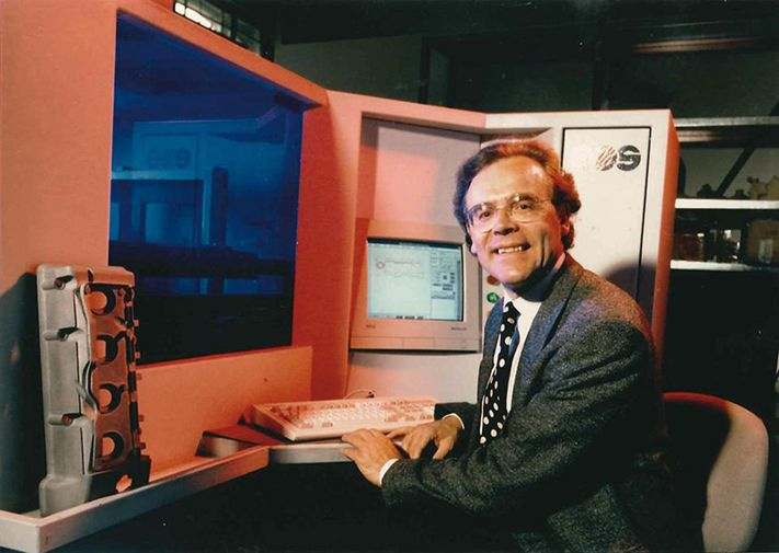 Hans Langer in 1989, the year he founded EOS. COURTESY OF EOS