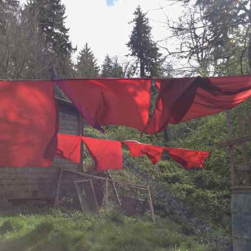 red tent silks in wind