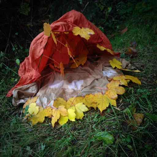 Autumnal Red Tent - with walnut dyed moon silk floor