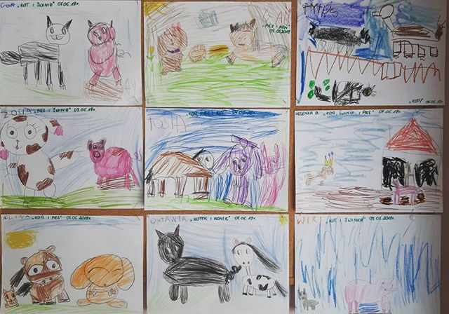 #dziecirysują #kot #koń #pies #świnia