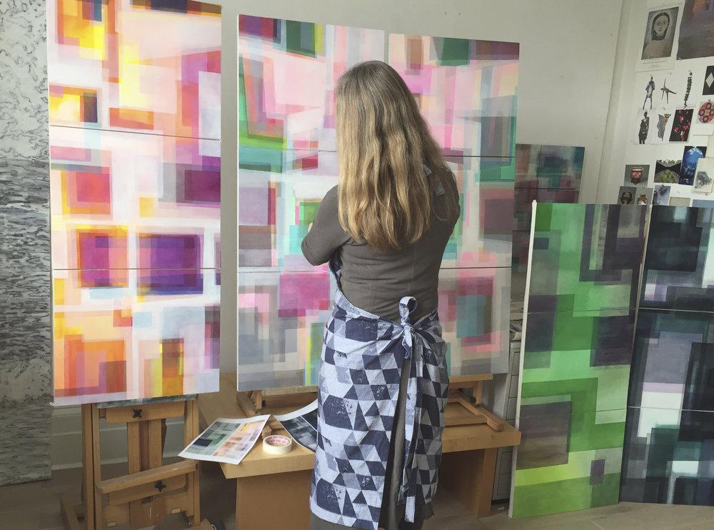 Hermione working in her studio