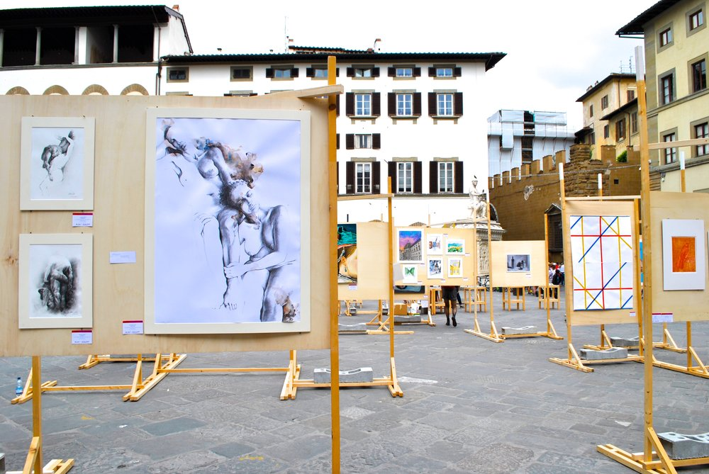 Lorenzo De' Medici - Florence student exhibition in San Lorenzo piazza: May 2018