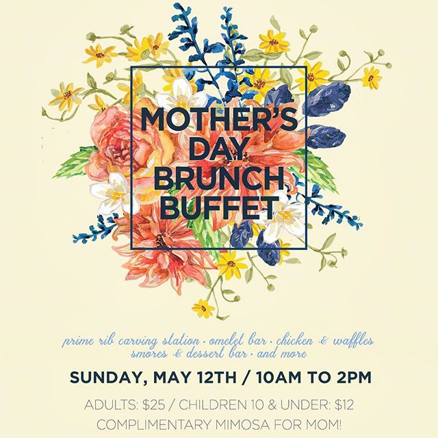 Free MOMosa on her special day! 🥂🍊 Call or email us to reserve a table for Mother's Day brunch! 405.701.8622  or 747@coxinet.net