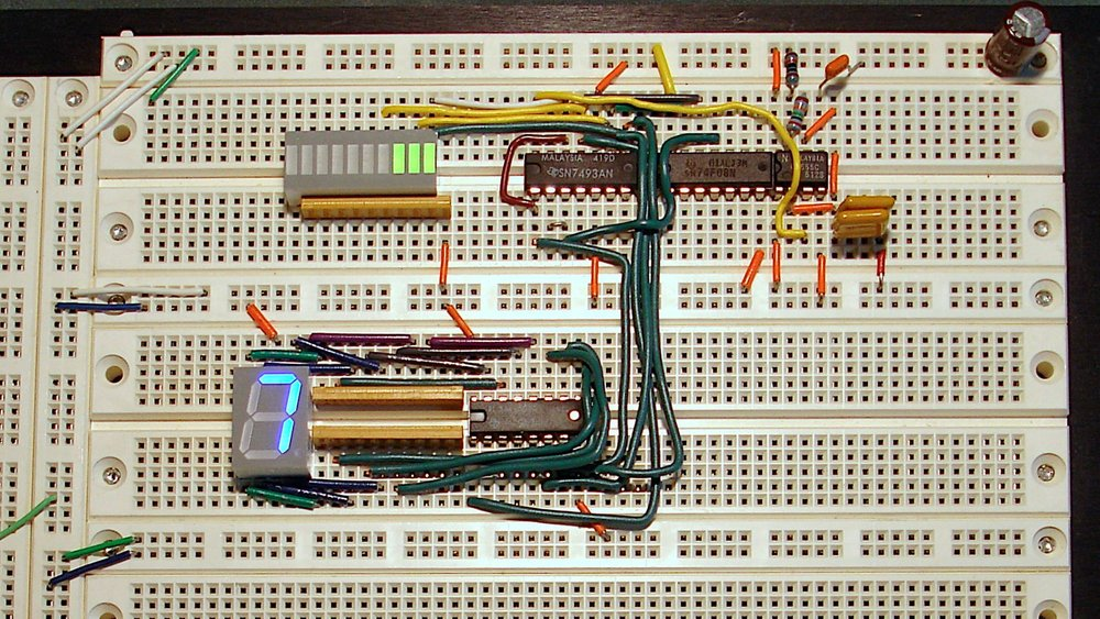 Breadboard prototype of an electronic system.