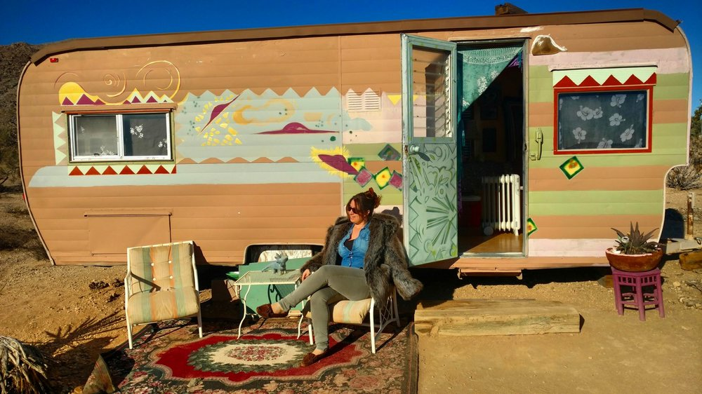 A portrait of the artist in her natural habitat - Joshua Tree, California - and for the record, it's faux fur.