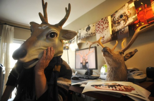 Finding your inner deer: Man wears deer head mask every day for five years    http://metro.co.uk/2013/03/26/finding-your-inner-deer-artist-wears-deer-head-mask-every-day-for-five-years-3560637/