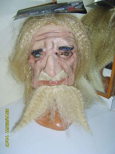 OLD MAN WIZARD RUBBER MASK FANCY DRESS NEW