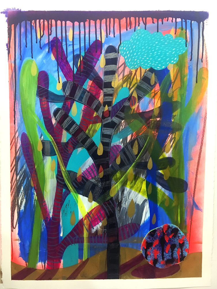 """Le Fin De Tierra,"" 30"" x 22,"" acrylic, graphite, gouache, water soluble spray paint on paper"