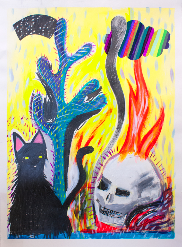 """""""Midnight and My Familiar,"""" 30"""" x 22,"""" acrylic, graphite, gouache, water soluble spray paint on paper"""