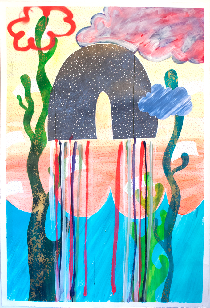 """""""Age of Aquarius,"""" 50"""" x 34,"""" acrylic, gouache, graphite, water soluble spray paint on paper"""