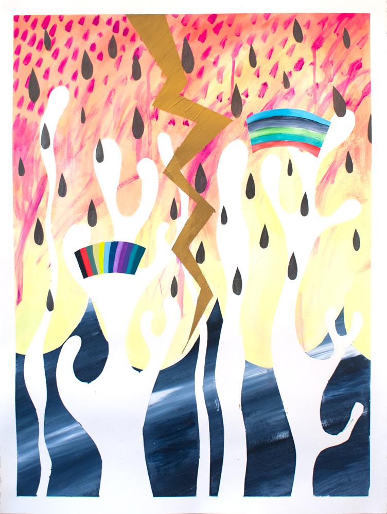 """Desert Thunderstorm,"" 30"" x 22,"" acrylic, graphite, gouache, water soluble spray paint on paper"