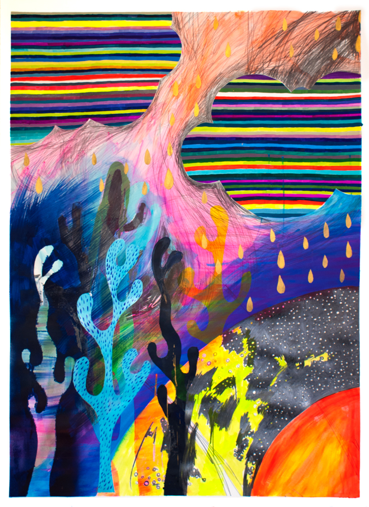 """""""Fire and Rain,"""" 50"""" x 36,"""" acrylic, gouache, graphite, water soluble spray paint on paper"""