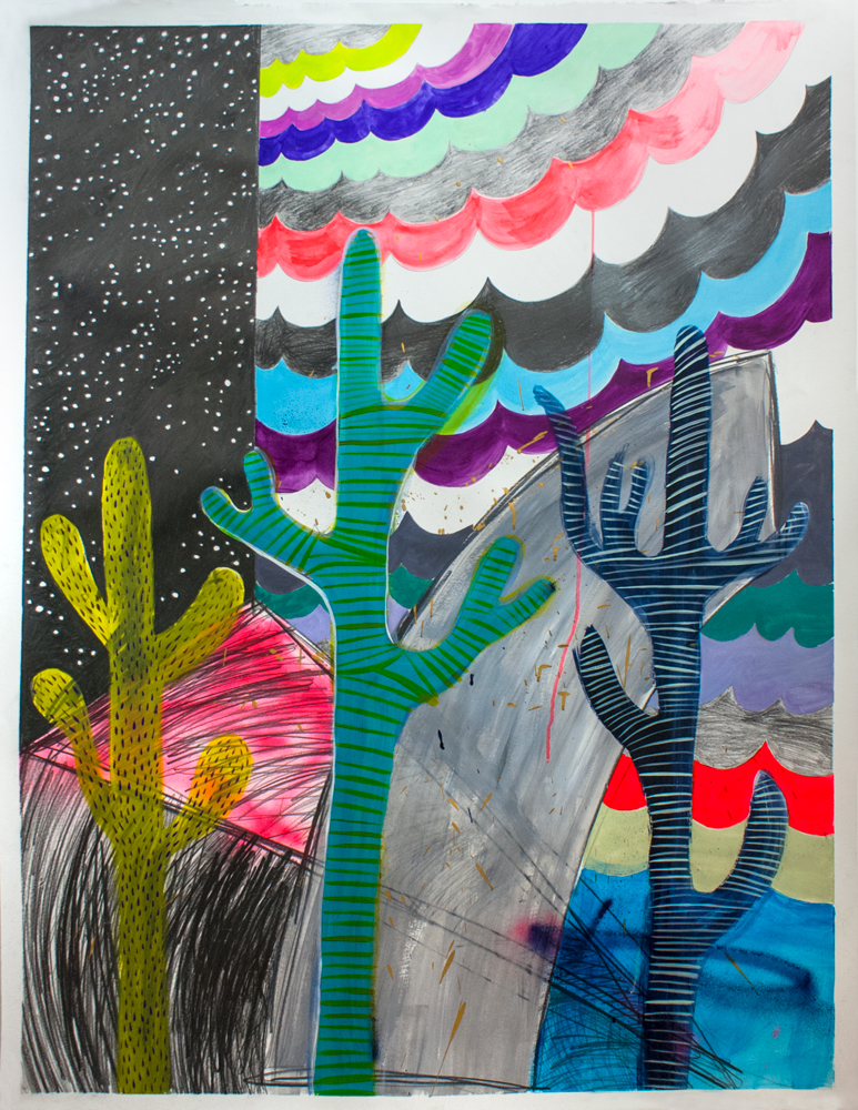 """""""Into the Great Wide Open,"""" 50"""" x 37,"""" acrylic, gouache, water soluble spray paint on paper"""