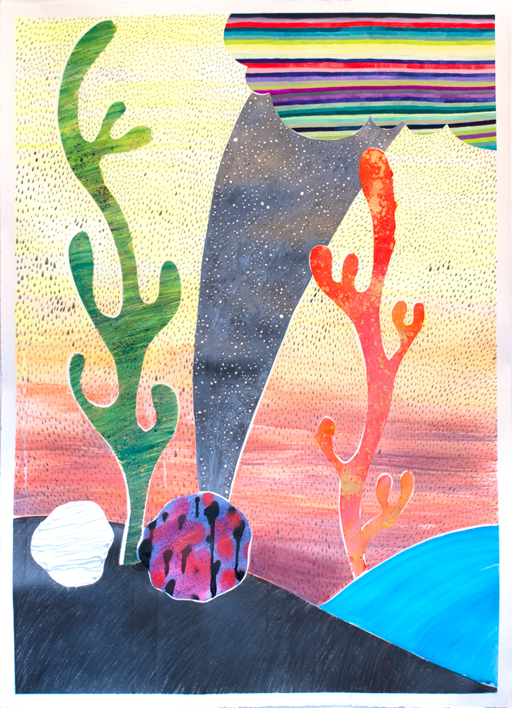 """""""Moonrock Portal,"""" 50"""" x 36,"""" acrylic, graphite, gouache, water soluble spray paint on paper"""