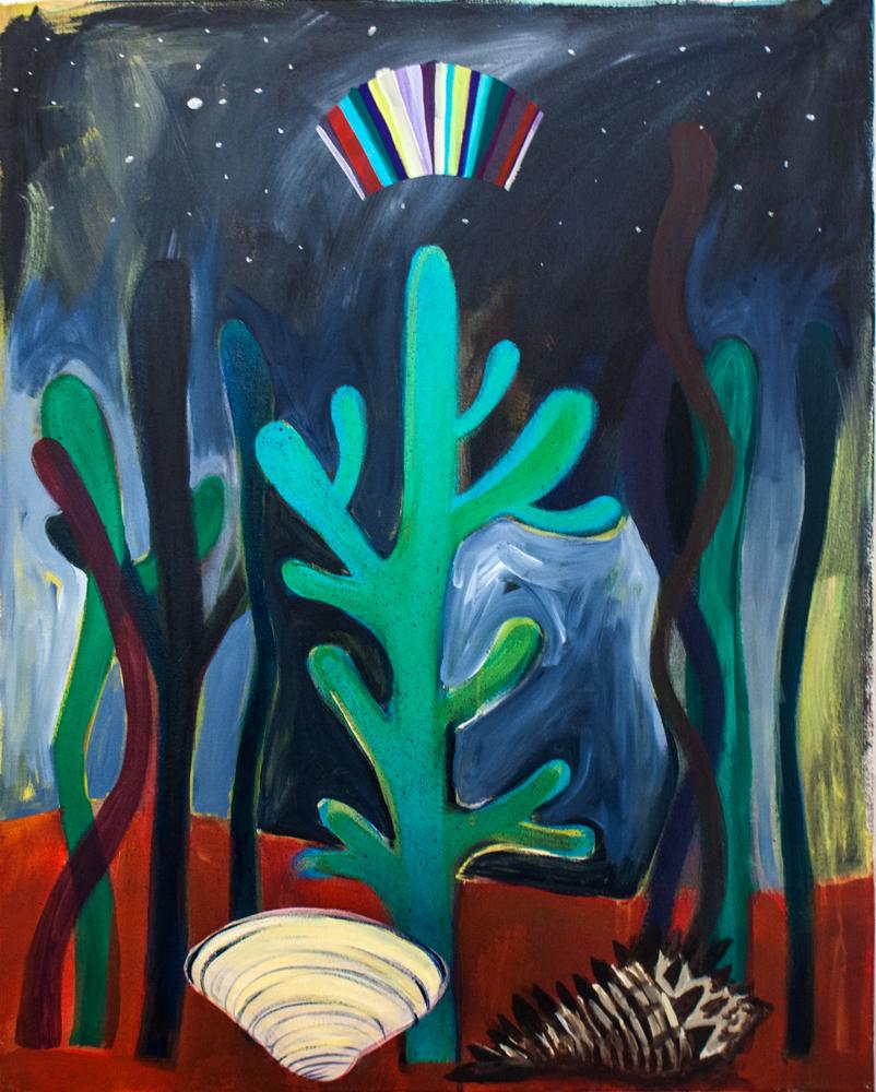 """""""Sea Cactus,"""" 32"""" x 24,"""" acrylic and gouache on canvas"""