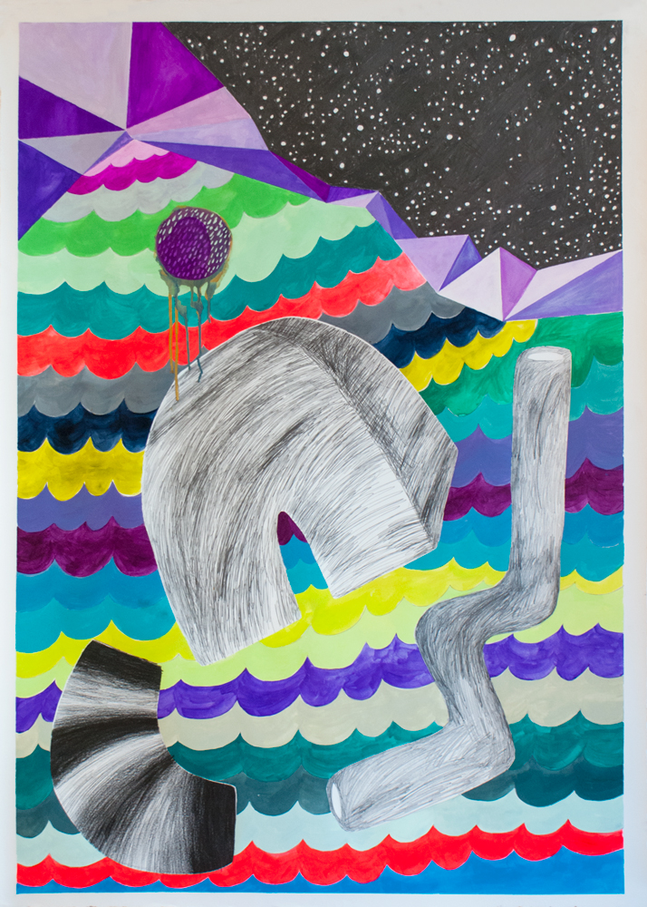 """""""Spacecapadest,"""" 50"""" x 36,"""" acrylic, graphite, gouache, water soluble spray paint on paper"""
