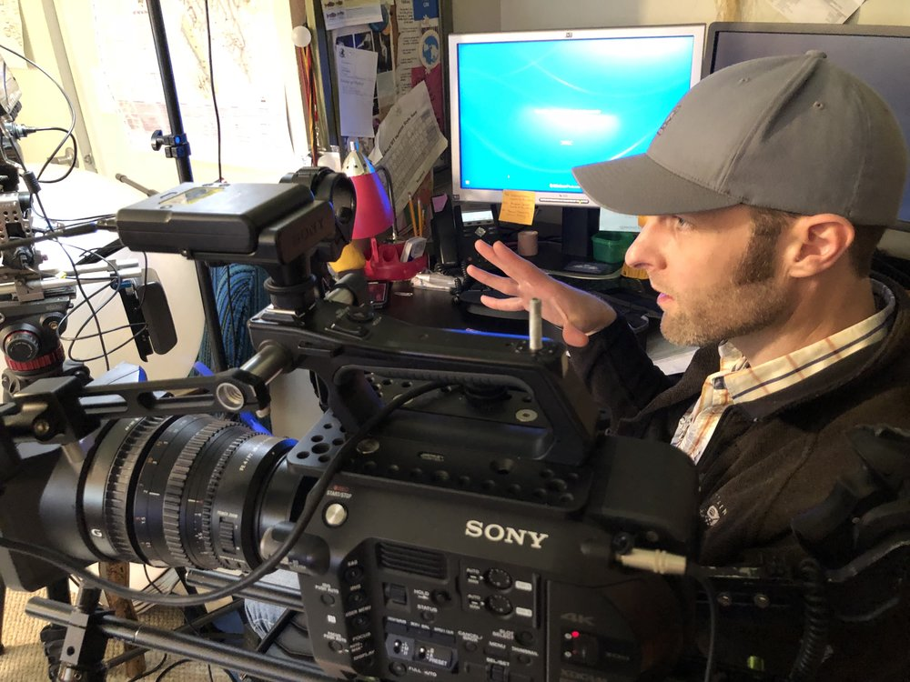 Producer - Writer Nils Cowan lines up a shot