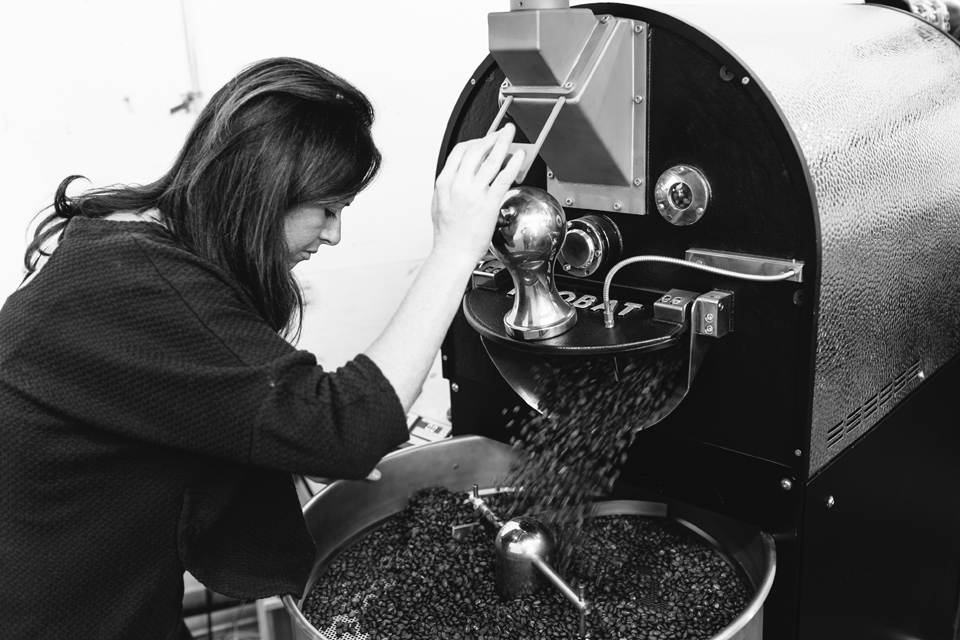 Maguire with one of her vintage Probat coffee roasters. |  PHOTO: SIMONE ANNE, COURTESY OF LADY FALCON COFFEE CLUB