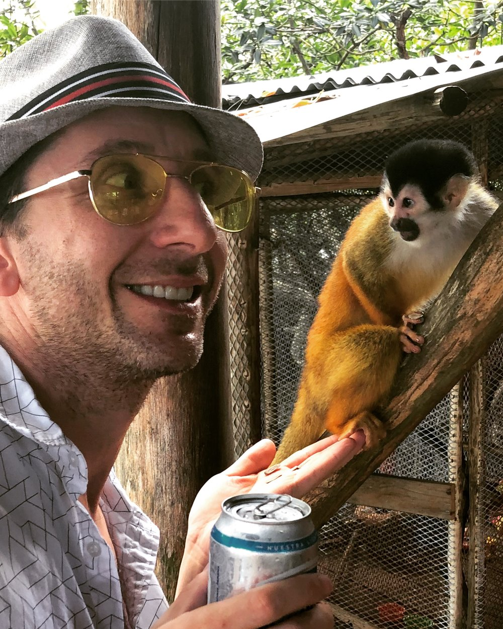 A squirrel monkey at the Monkey Island Foundation in Bocas del Toro Panama questions my intentions.