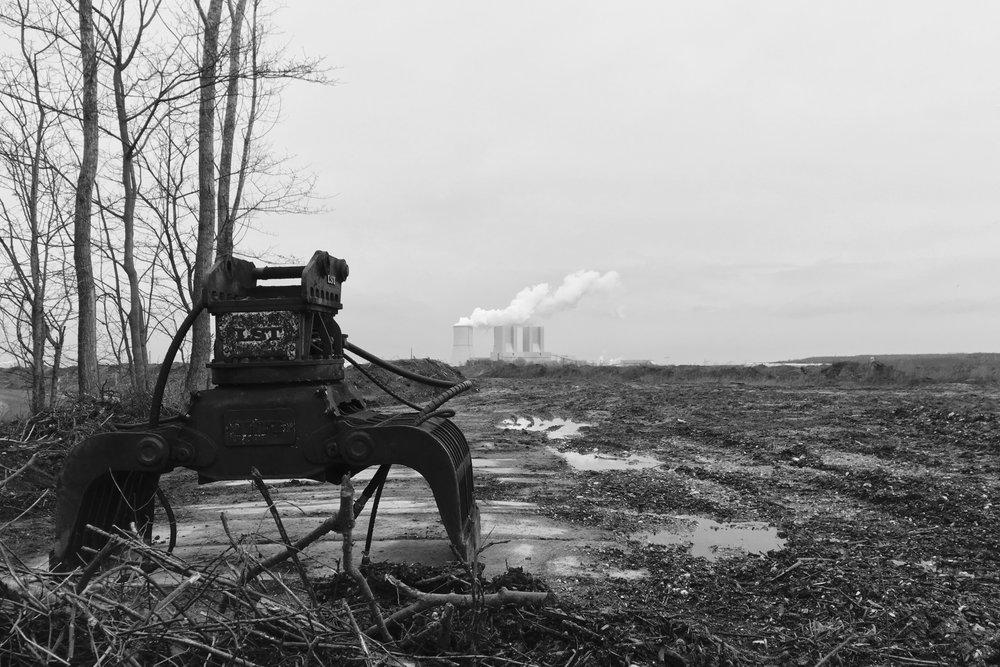 Dévastation d'un paysage près de la mine Vereingtes Schleenhain, Saxe, janvier 2019.