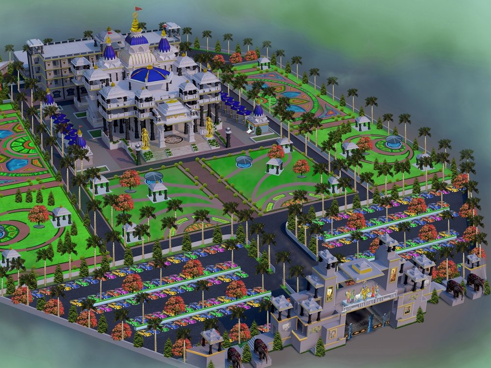 TEMPLE OVERVIEW - See 3D renderings of ISKCON Khargone, rising in Madhya Pradesh, the heart and center of India.