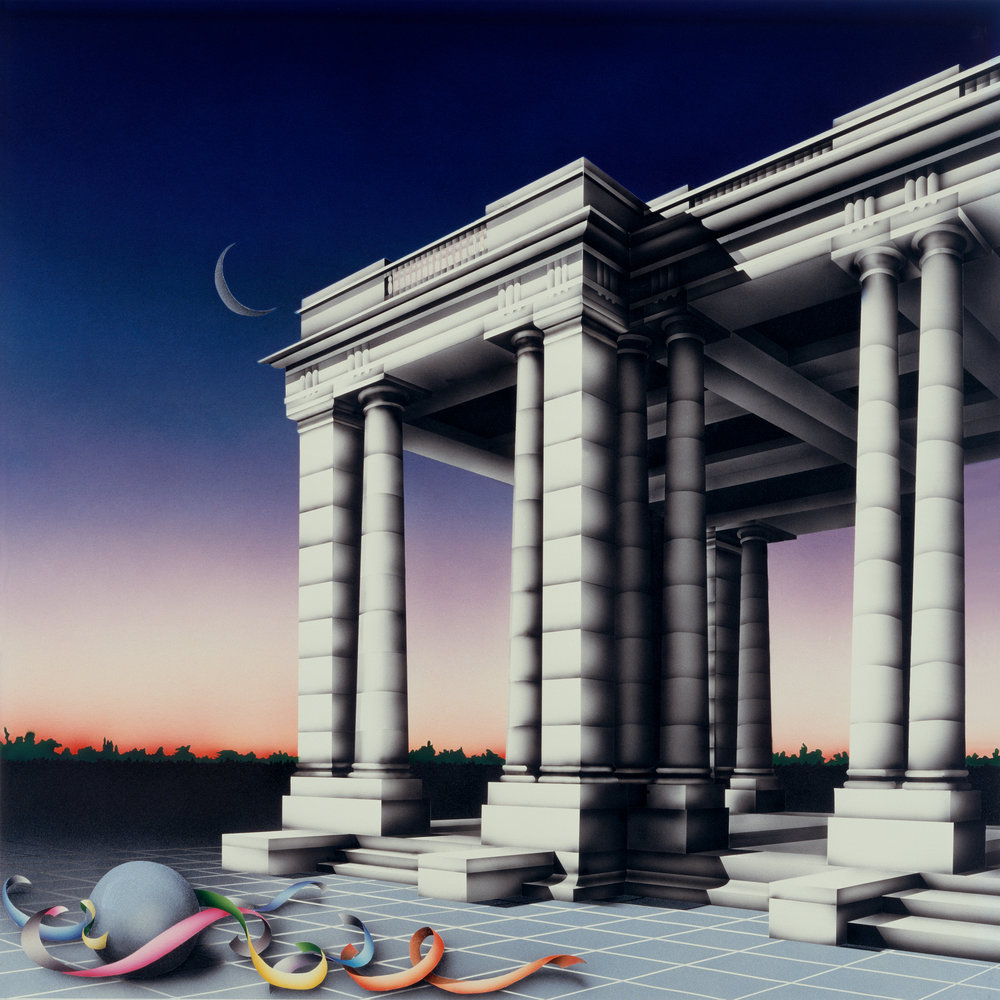 Enchanted Pavilion, 1985: Acrylic and varnish on board,  27 x 27 in  (69 x 69 cm)