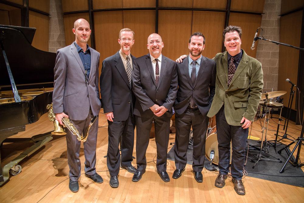 Tribute to Billy Strayhorn, 10/19/15  From left: Elijah Samuels (saxophone), Pete Ellingson (piano), Todd Reid (drums), Greg Garrison (bass), Sean McGowan (guitar).