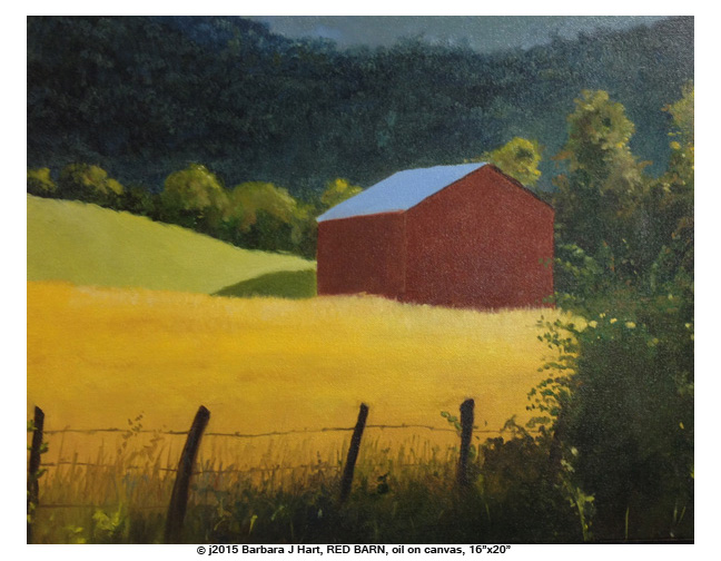 "RED BARN, oil on canvas, 16""x 20"" by Barbara J Hart"