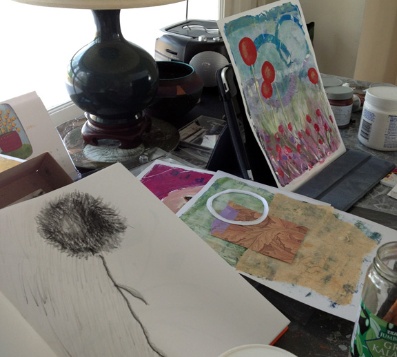 In the Studio. Photo of working process and finished print