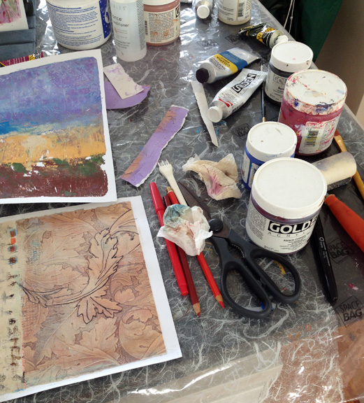 In the Studio-close up of monoprint process