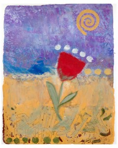 Spring Warmth, monoprint on paper