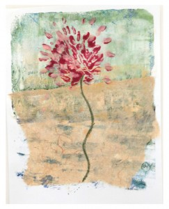 """Spring to It!, monoprint/collage on 8.5""""x11"""" paper"""