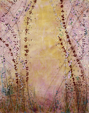 """Not What It Used to Be, encaustic on panel, 38"""" x 30"""" Mary Farmer -Interlacing flowers are intricate. Pretty and highly feminine; they make me feel lavish, even special. They are also angelic yet slightly devilish what with all that twisting and twining. It gives a taste of what's underneath but not the whole thing; that mystery is always a good thing."""