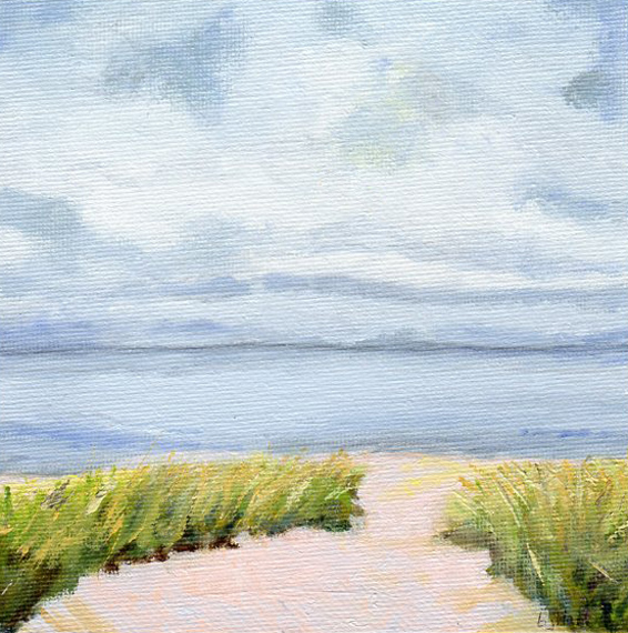 """Calm Waters is an oil painting on canvas board, 6"""" x 6"""", Barbara J Hart"""