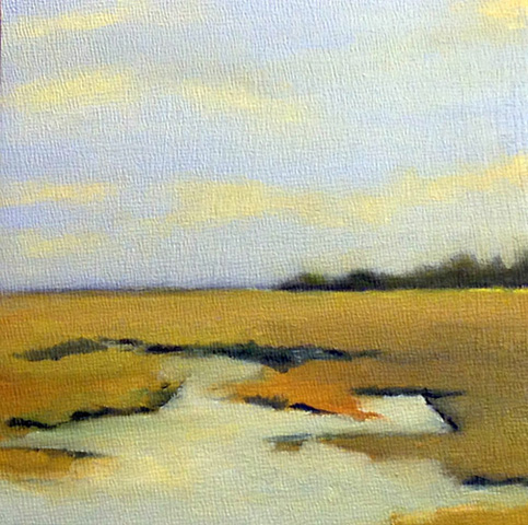 Quiet Sky is an landsape oil painting on panel. It is inspired by the marshes on the Eastern Shore of Virginia