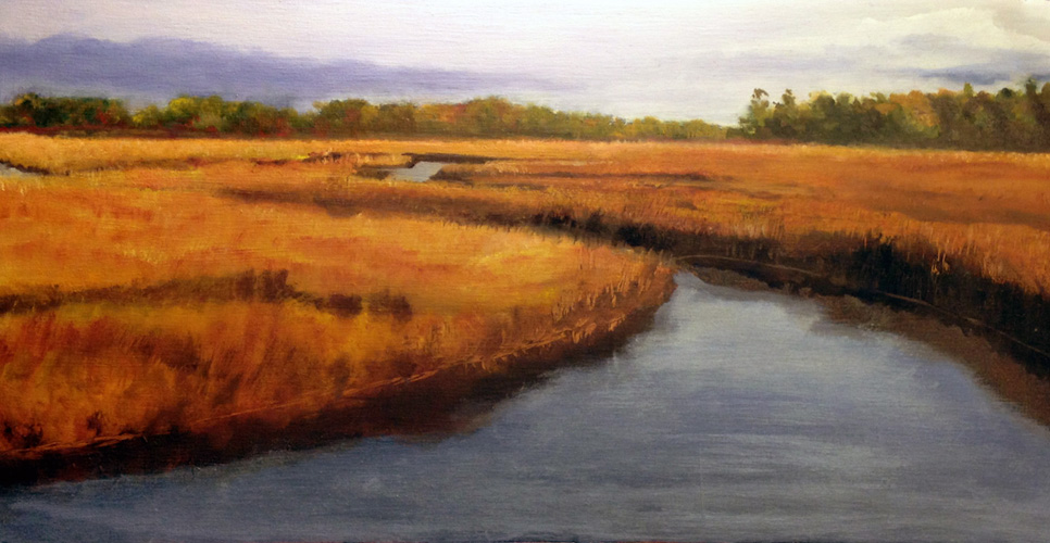 Solitude is an oil painting of an Eastern Shore Marsh by Barbara J Hart