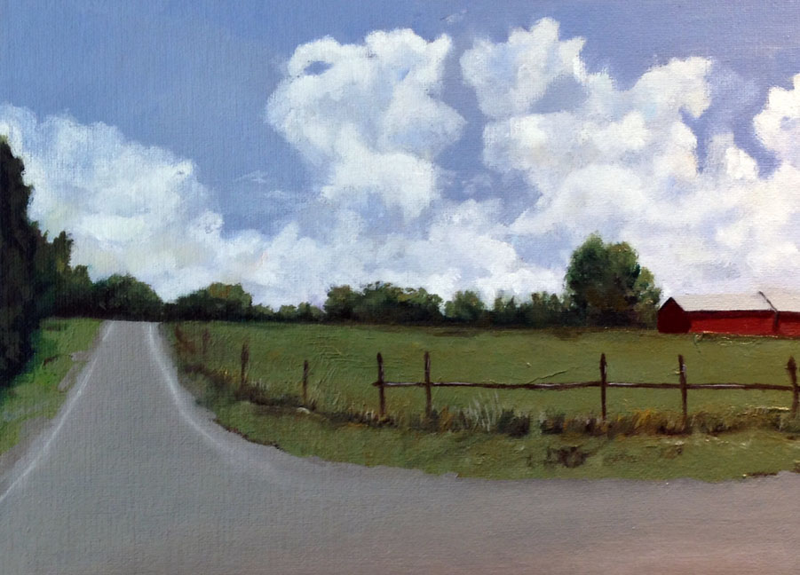"""North of Here"" is an oil painting on canvas board. It measured 9"" x 12"" and painted by Barbara J Hart. It is of a road in the Hudson Valley, NY"