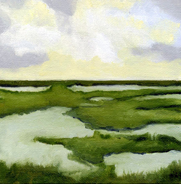 """""""Stillness"""" is an oil painting on canvas board of Eastern Shore marsh land. 6"""" x 6"""" by Barbara J Hart"""