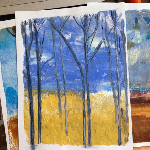 "A collection of monotypes. Each measures 8.5"" x 11"". The one featured on top is called ""A Gathering"""
