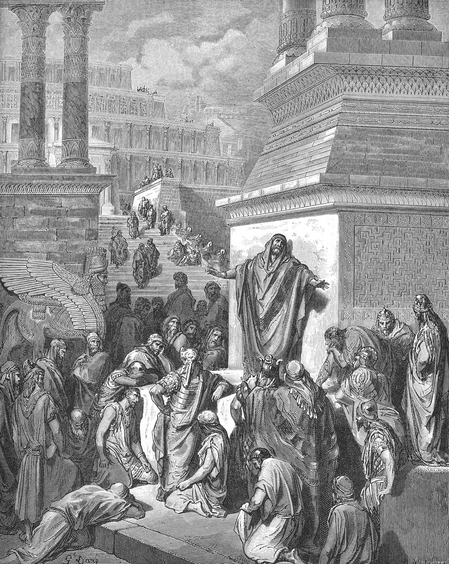 Jonah Preaching to the Ninevites - Gustave Dore