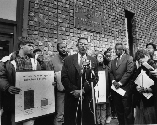 With Derrick Bell as students filed a lawsuit against Harvard University.
