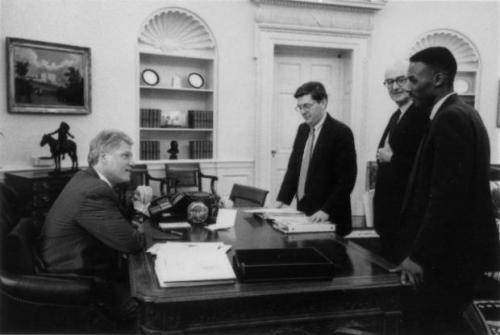 With President Clinton in the Oval Office.