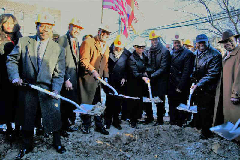 Elected officials, clergy and community leaders break ground for the Bishop Philius and Helene Nicolas Senior Residence Project.