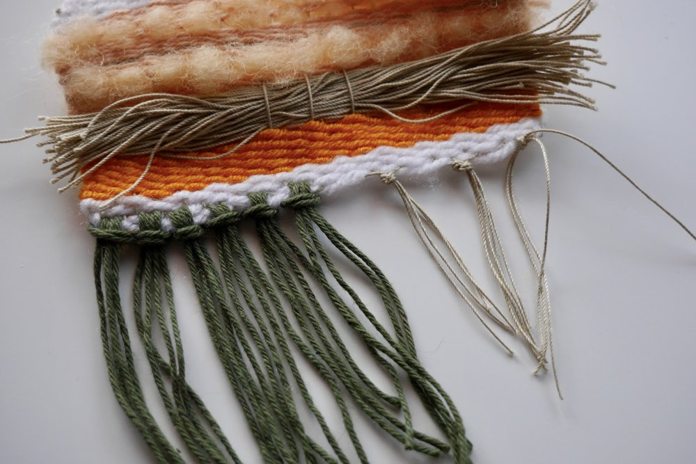 Left: Added fringe Right: Tied ends of the warp